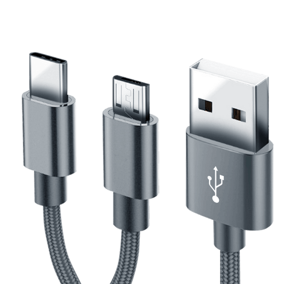 Infinix XPL02 Metal Micro USB And Type C Cable, 1000 Mm - Grey - Saamaan.Pk