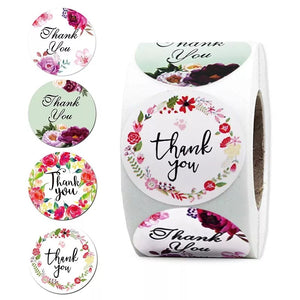 "Floral ""Thank You"" Sticker Roll"