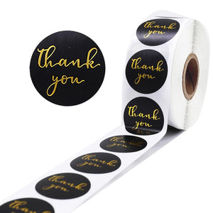 "Black ""Thank You"" Sticker Roll"