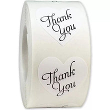 "Load image into Gallery viewer, White ""Thank You"" Sticker Roll"