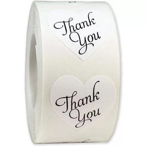 "White ""Thank You"" Sticker Roll"