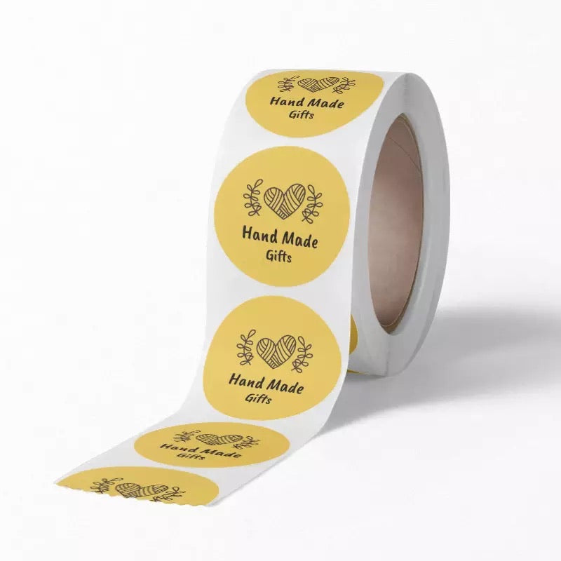 "Yellow ""Hand Made Gifts"" Sticker Roll"