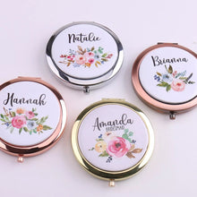 Load image into Gallery viewer, Customised Floral Compact Mirror