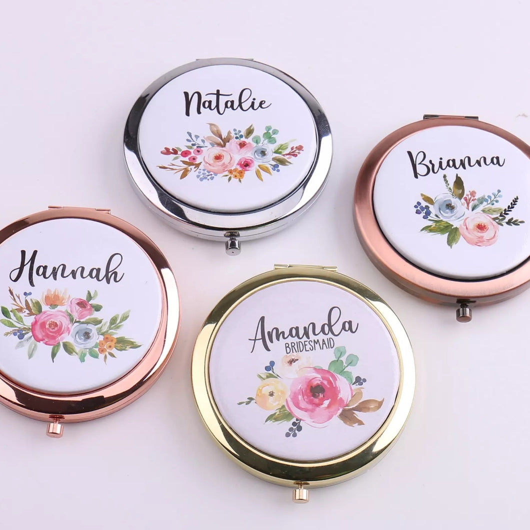 Customised Floral Compact Mirror