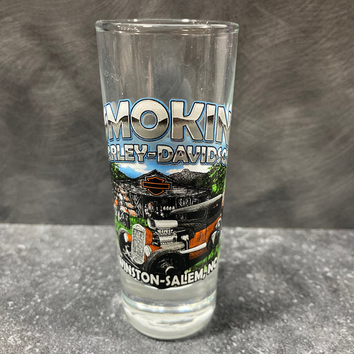 Tall Clear Shot Glass, Barn & Hot Rod