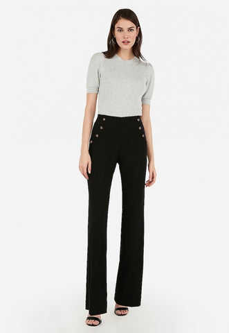 high waisted button front wide leg pant