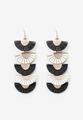 tiered leather fringe fan drop earrings