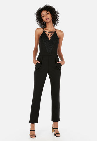 strappy lace front jumpsuit