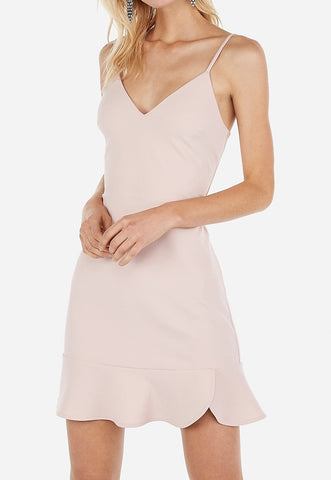 ruffle cami fit and flare dress