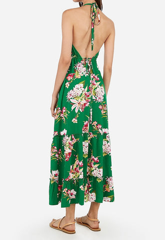 floral print deep v halter maxi dress