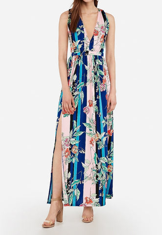 printed deep v twist back maxi dress