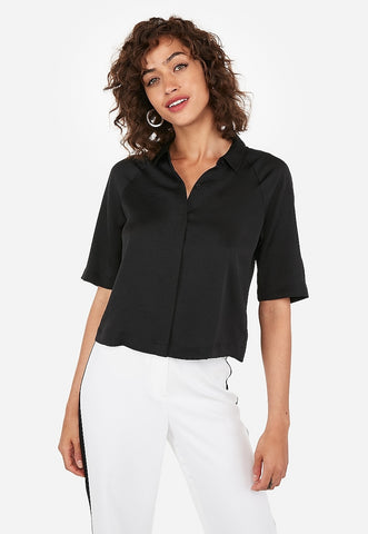 satin cropped elbow sleeve shirt