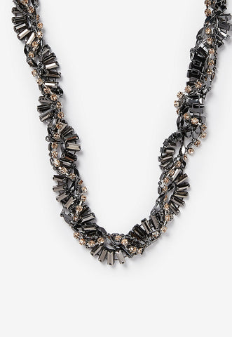 twisted baguette rhinestone necklace