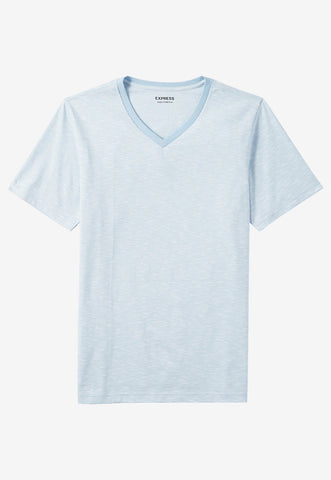 space dyed slub knit flex stretch v-neck tee