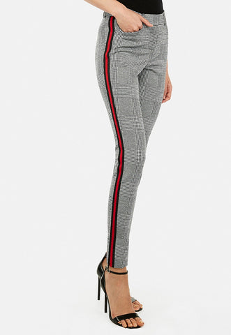 mid rise plaid side stripe menswear skinny pant