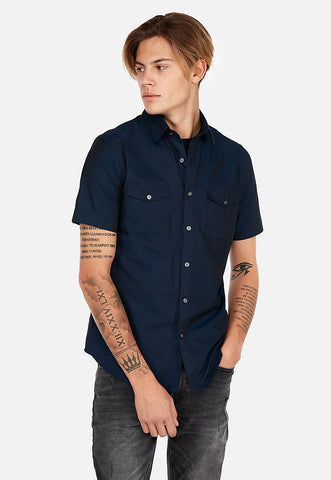 chambray two-pocket short sleeve shirt