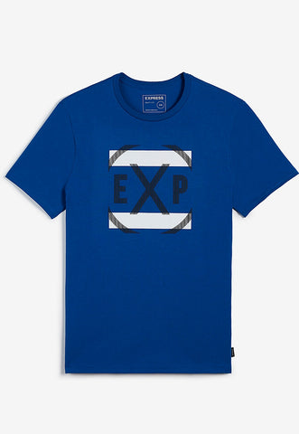 EXP striped graphic crew neck tee