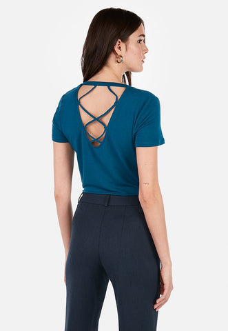 express one eleven scoop neck strappy back easy tee