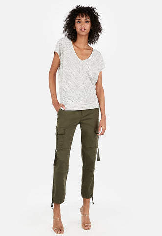 express one eleven marble v-neck banded dolman tee