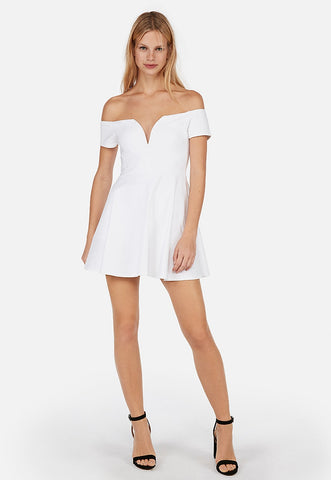 off the shoulder v-wire fit and flare skort dress