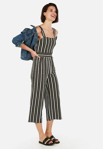 striped square neck culotte jumpsuit