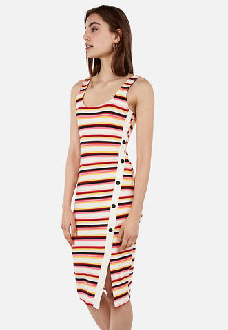 striped asymmetrical button front midi bodycon dress