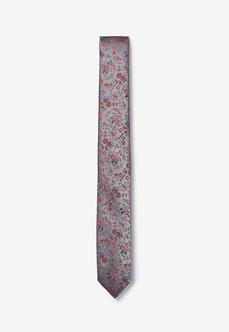 skinny woven floral tie