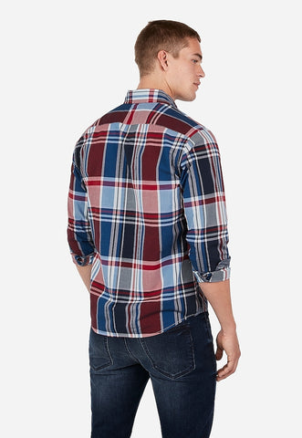 slim plaid button-down soft wash shirt