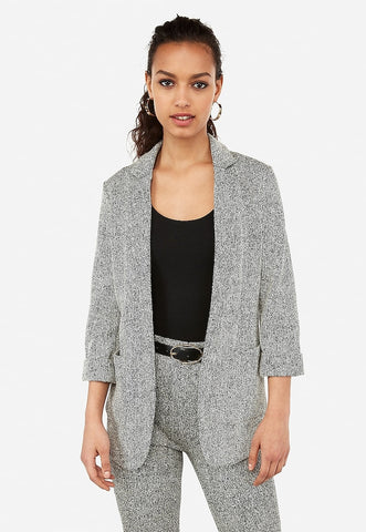 textured knit patch pocket boyfriend blazer
