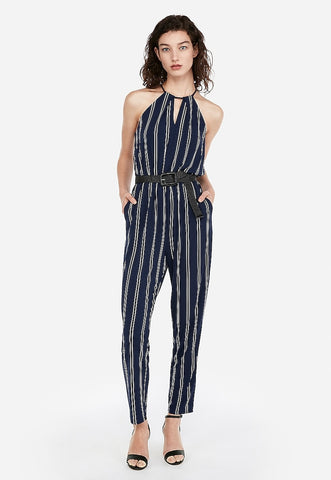 keyhole cut-out halter jumpsuit