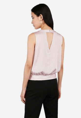 satin surplice cut-out side tie top
