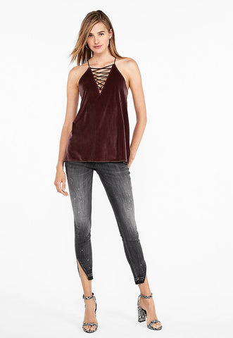 velvet lace-up racerback cami