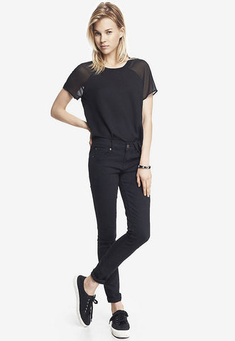 black mid rise stretch jean legging