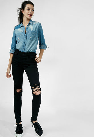 black high waisted distressed knee stretch jean legging