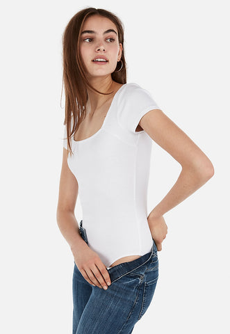 Express One Eleven Modern Rib Square Neck Bodysuit