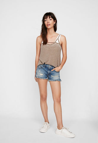 Low Rise Medium Wash Distressed Cutoff Denim Shorts