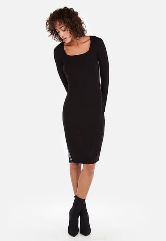 ribbed square neck sheath dress