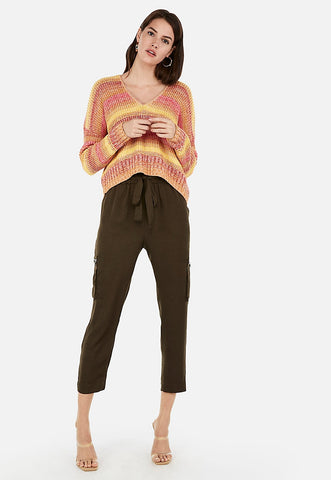 striped split back v-neck sweater