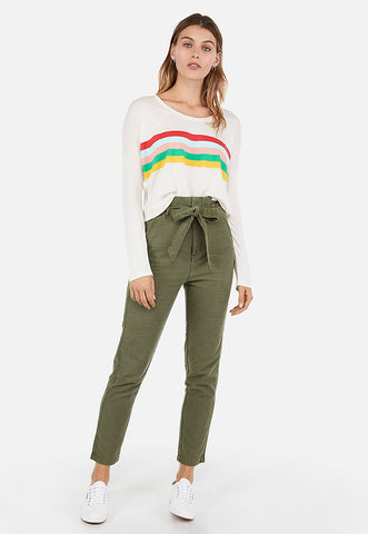 express one eleven rainbow striped long sleeve boxy tee