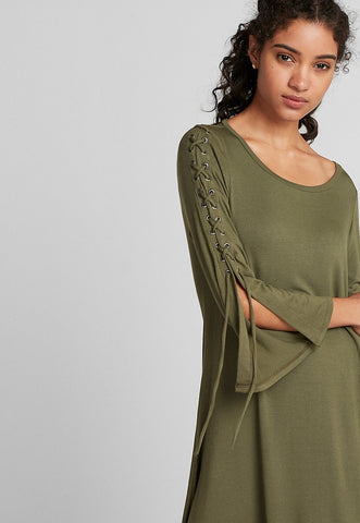 Lace-Up Bell Sleeve Trapeze Dress