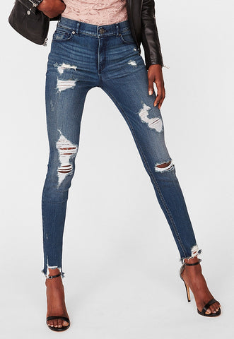 High Waisted Destroyed Denim Perfect Stretch+ Ankle Leggings