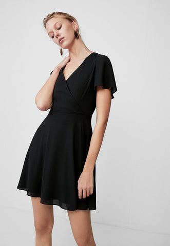 Surplice Flutter Sleeve Fit And Flare Dress