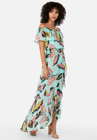 tropical ruffle off the shoulder maxi dress