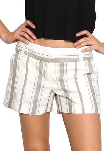 Mid Rise Linen Striped Short