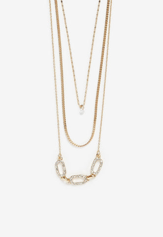 Three Row Cubic Zirconia Bezel Linked Chain Necklace