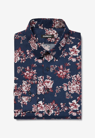 Extra Slim Floral Print Cotton Dress Shirt