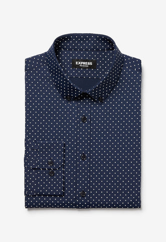 Slim Dot Print Wrinkle-Resistant Performance Dress Shirt