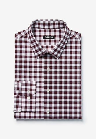 Slim Plaid Cotton Dress Shirt