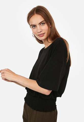 Express One Eleven Smocked Flutter Sleeve Top