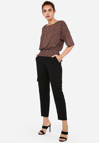 Express One Eleven Leopard Smocked Flutter Sleeve Top